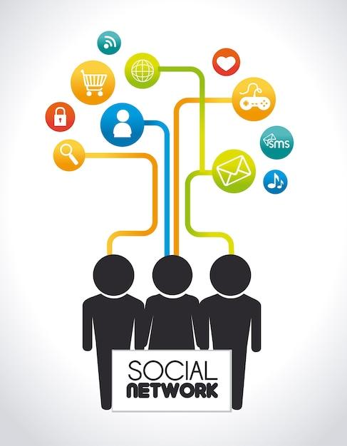Sociaal netwerkontwerp Premium Vector