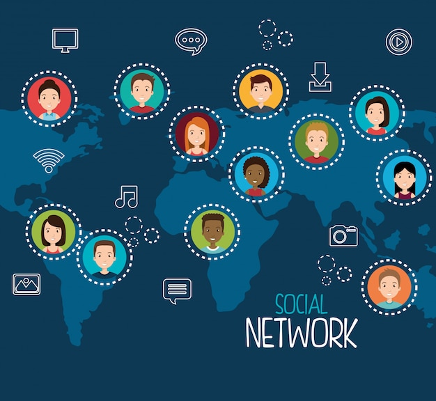 Sociaal netwerkontwerp Gratis Vector