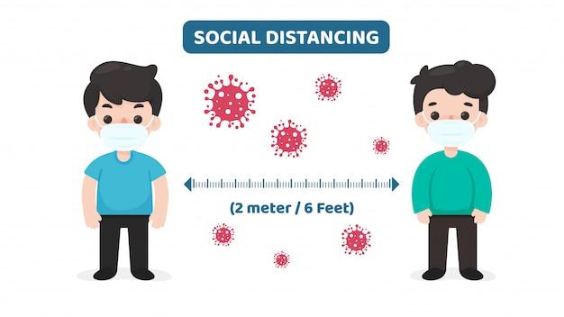 Social distancing. ruimte tussen uzelf en anderen om corona-virusinfectie te voorkomen. Premium Vector