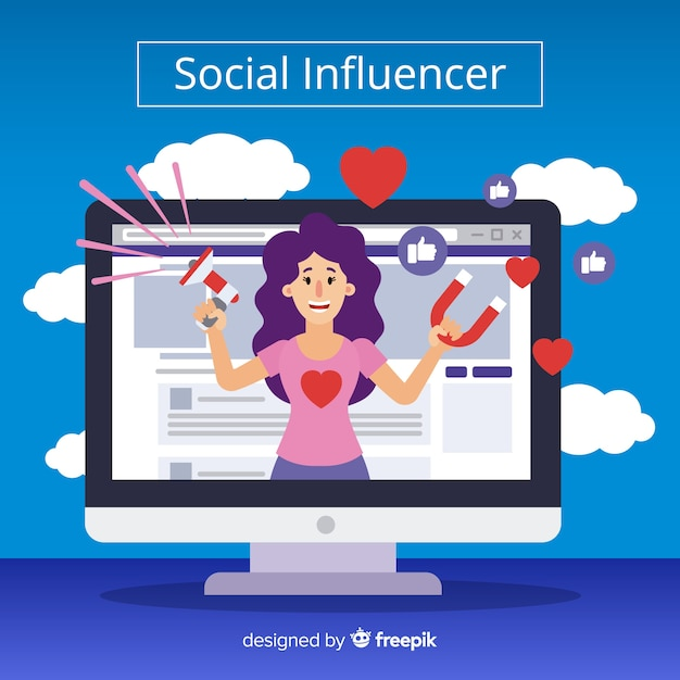 Social influencer marketing Gratis Vector