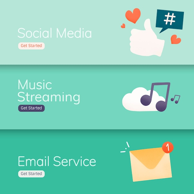 Social media-applicatie banner vectoren Gratis Vector