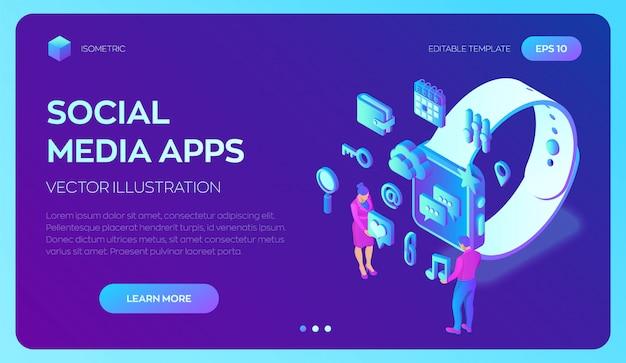 Social media-apps op een smart watch. 3d isometrische mobiele apps. infographic sjabloon met tekens en pictogrammen. Premium Vector
