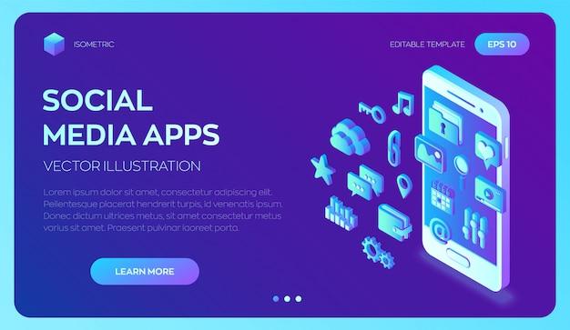 Social media-apps op een smartphone. 3d isometrische mobiele apps. Premium Vector