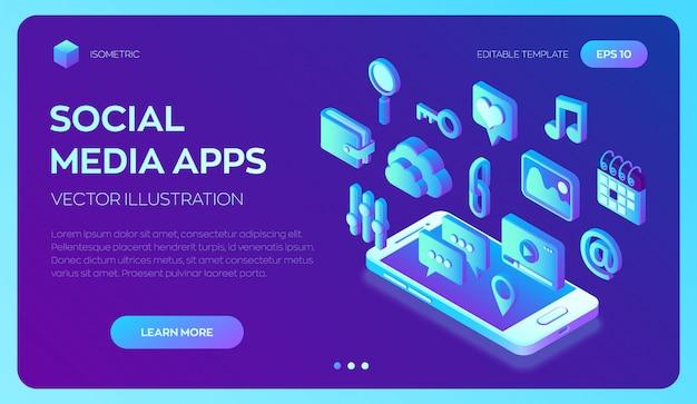 Social media-apps op een smartphone. social media 3d isometrisch. Premium Vector