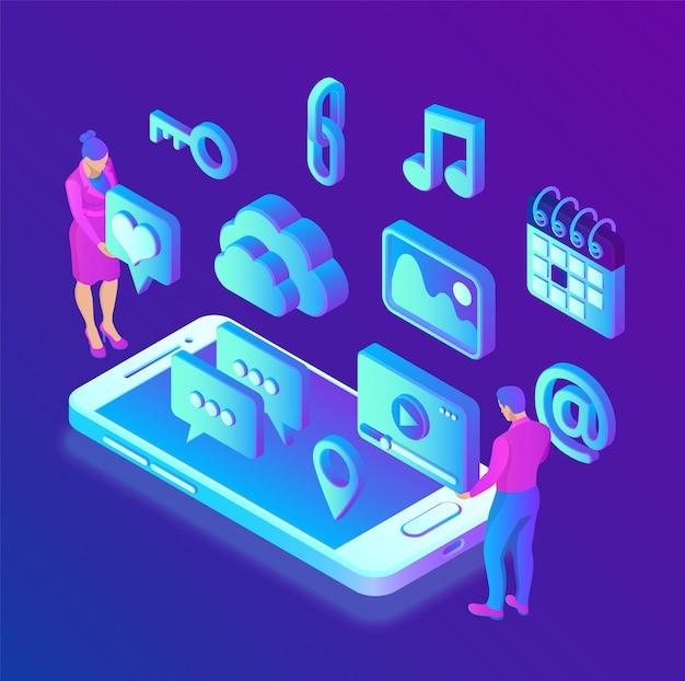 Social media-apps op een smartphone. social media 3d isometrische pictogrammen. mobiele apps. Premium Vector