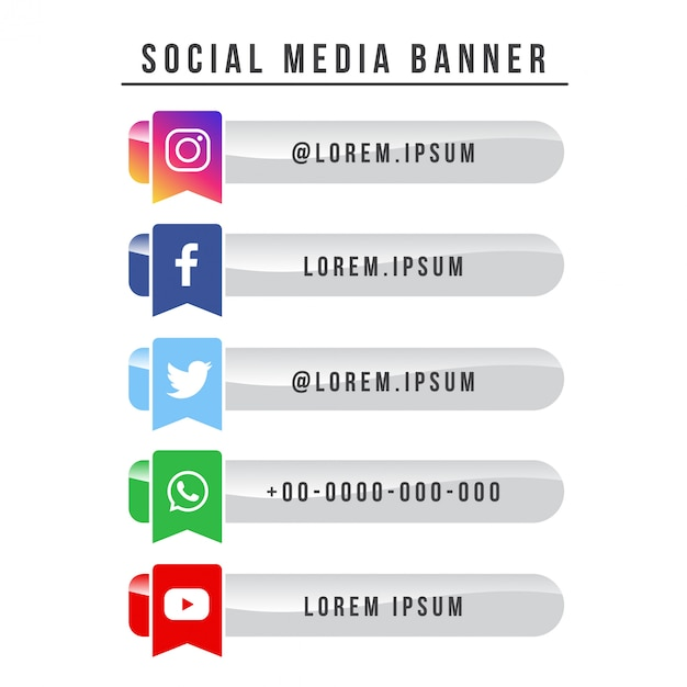 Social media banner collection-vlag versie Premium Vector