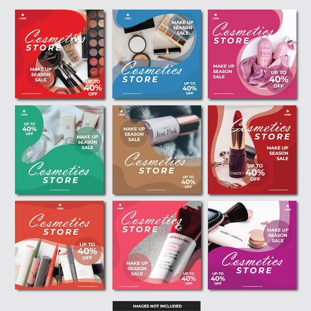 Social media bannermalplaatje cosmetica winkel Premium Vector