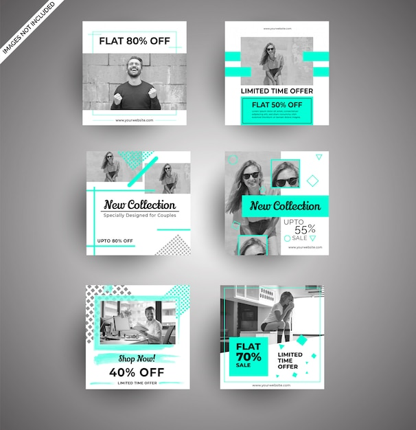 Social media-banners voor digitale marketing Premium Vector