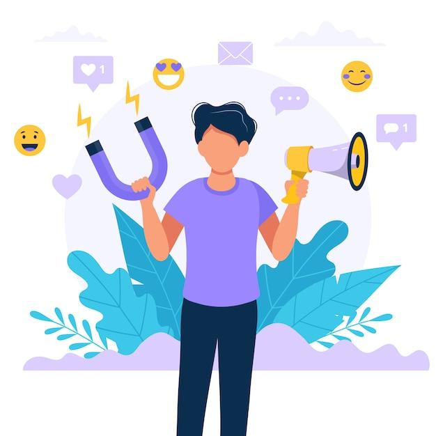 Social media-beïnvloeder. illustratie met de megafoon en de magneet van de mensenholding. Premium Vector