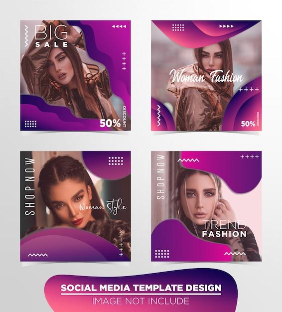 Social media bericht sjabloonontwerp Premium Vector