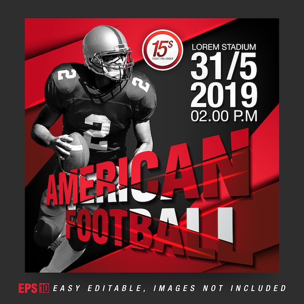 Social media bericht voor american football rugby competition Premium Vector