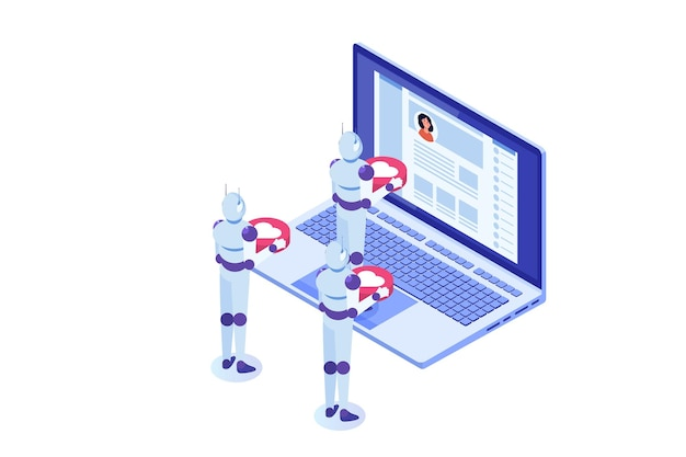 Social media bots nepaccounts conceptautomatiseringsmethode om volgers te krijgen Premium Vector
