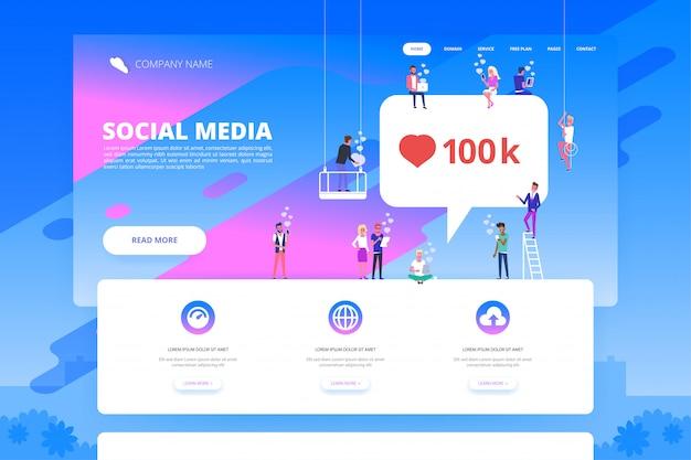 Social media concept voor website. Premium Vector