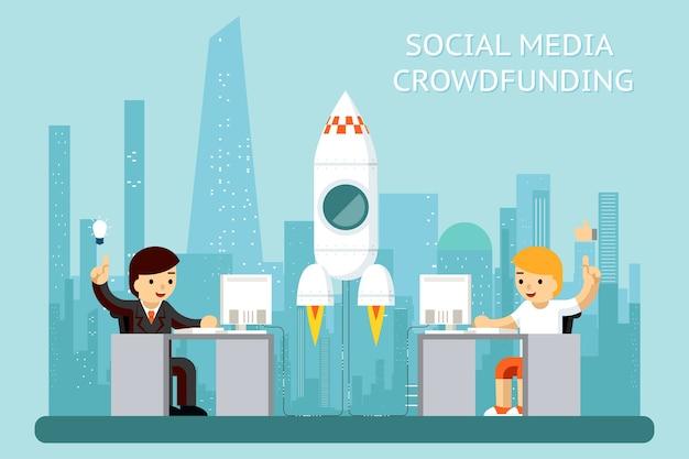 Social media cowdfunding illustratie Gratis Vector