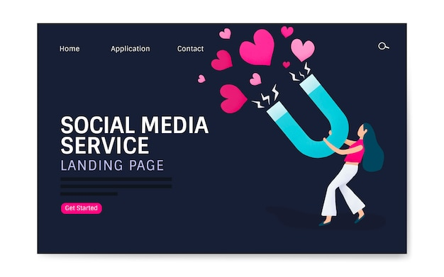 Social media-dienst bestemmingspagina lay-out vector Gratis Vector