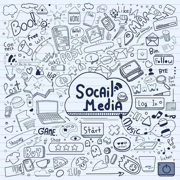 Social media doodle. Premium Vector