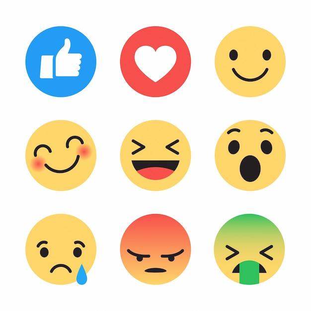Social media emoji-pictogrammen instellen verschillende reacties Premium Vector