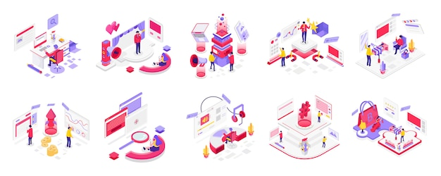 Social media en digitale marketing isometrisch Premium Vector