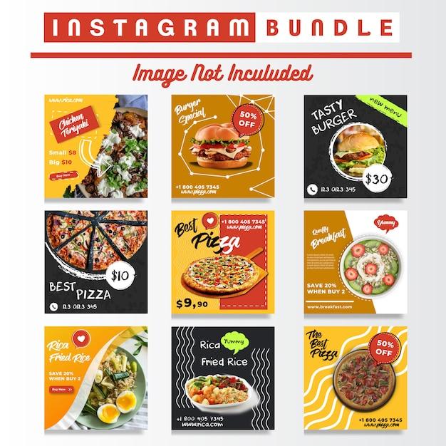 Social media eten instagram berichten bundel Premium Vector
