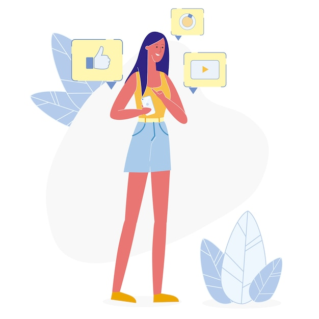 Social media-gebruiker op telefoon vectorillustratie Premium Vector
