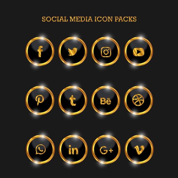 Social media icon packs circle gold Premium Vector