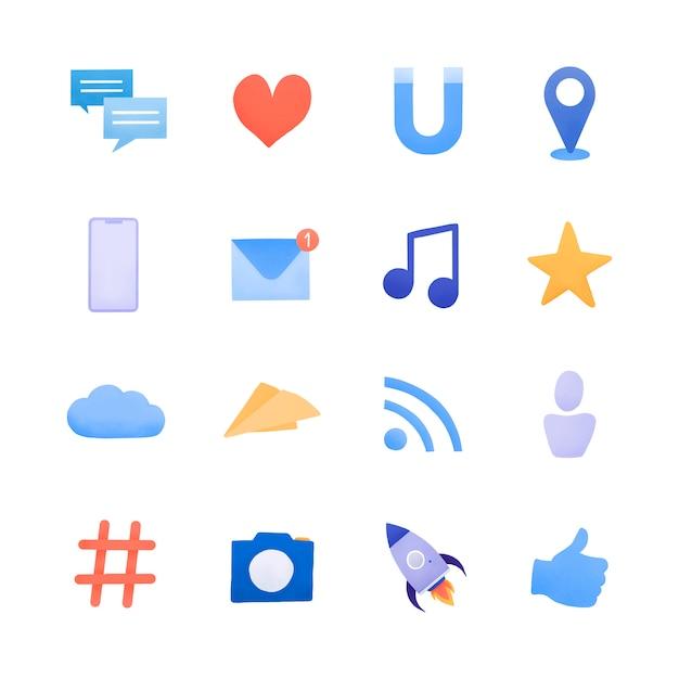 Social media icon set vector Gratis Vector