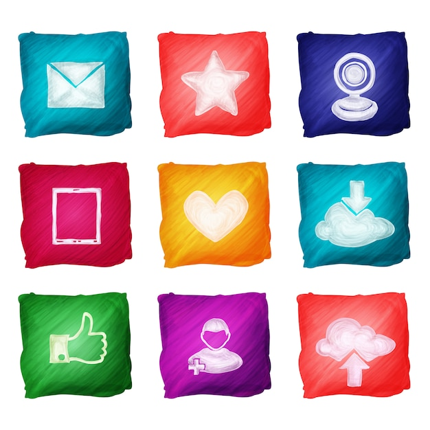 Social media iconen aquarel Gratis Vector