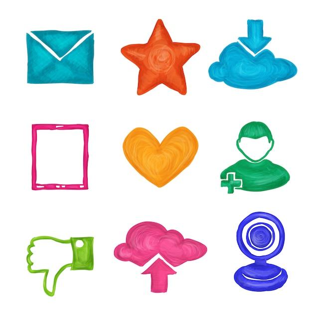 Social media iconen geschilderd Gratis Vector