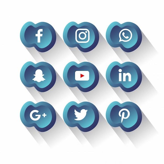 Social media iconen pack vector Premium Vector