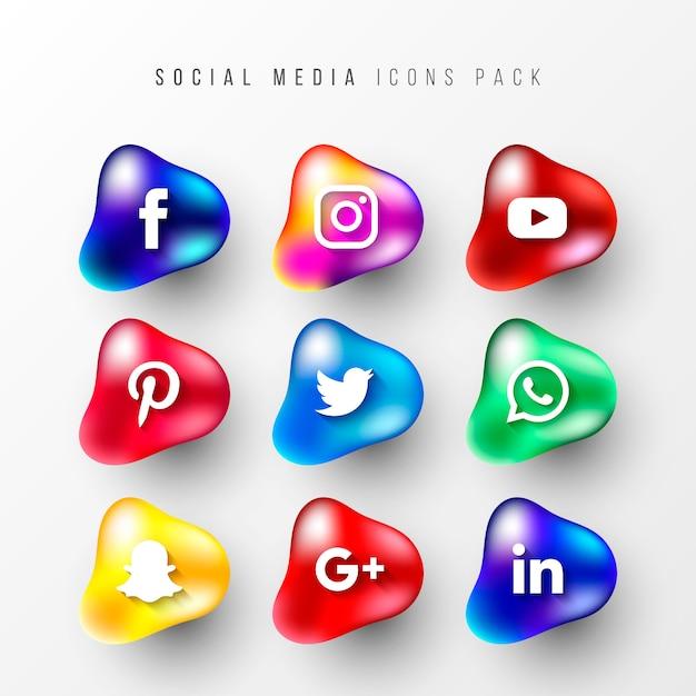 Social media iconen packs met vloeiende vormen Gratis Vector