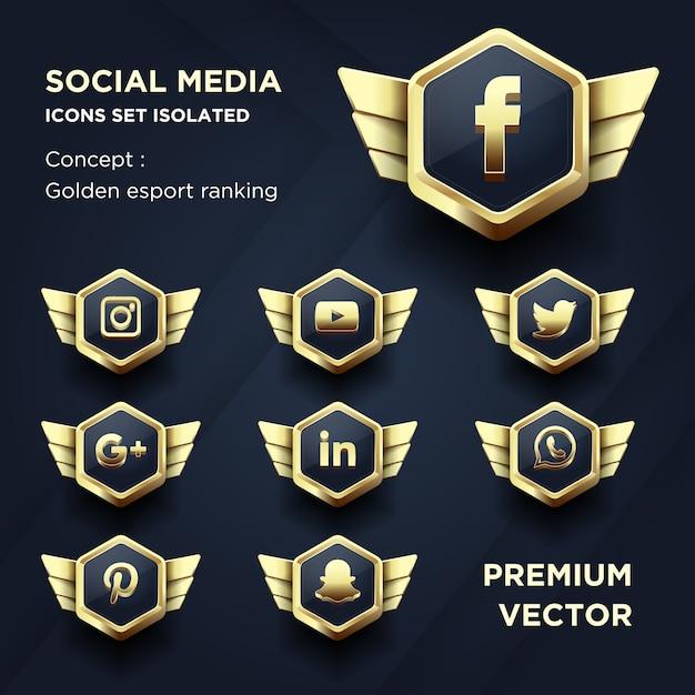 Social media iconen set geïsoleerd golden esport ranking Premium Vector