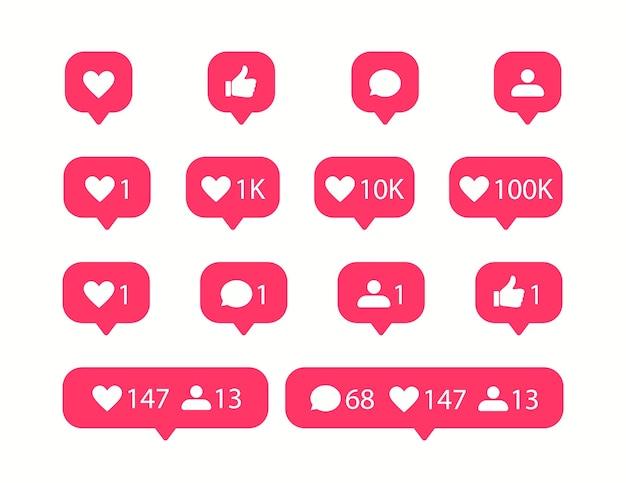 Social media iconen. vind ik leuk en commentaarpictogram. Premium Vector