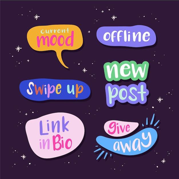 Social media jargon bubbels collectie Gratis Vector