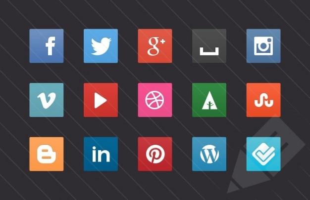 Social media knoppen vector pack Gratis Vector