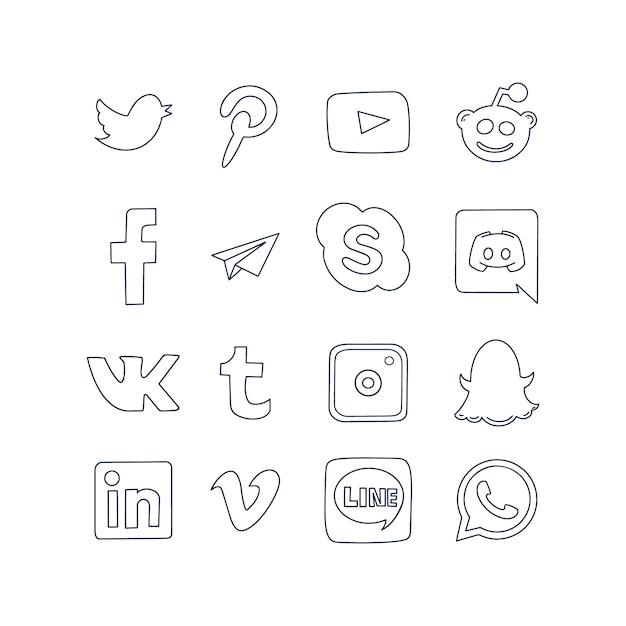 Social media logo pictogrammen Premium Vector