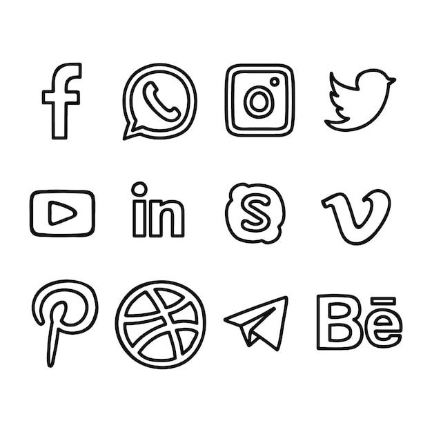 Social media logo's hand getrokken Premium Vector