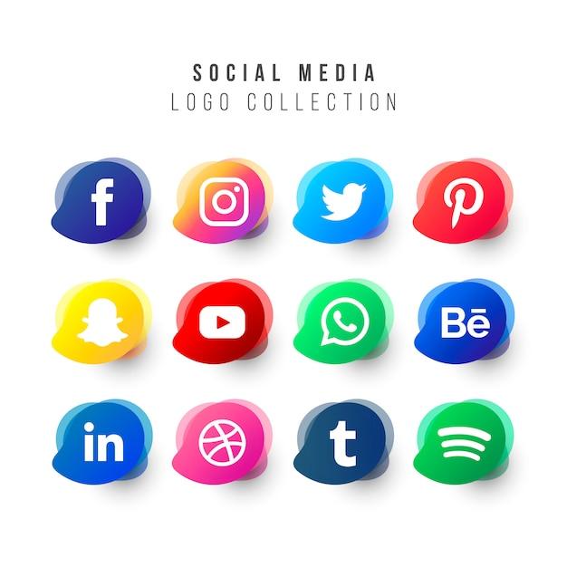 Social media logos collectie met vloeibare vormen Gratis Vector