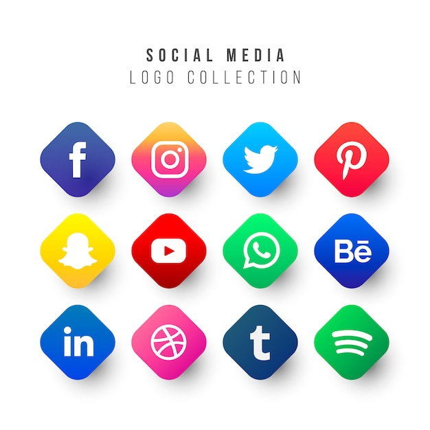 Social media logos collection met geometrische vormen Gratis Vector