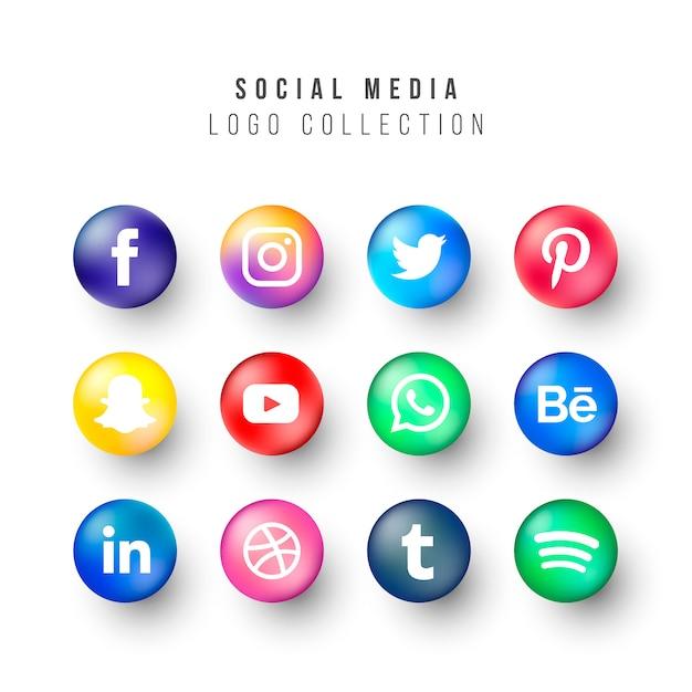 Social media logos collection met realistische cirkels Gratis Vector