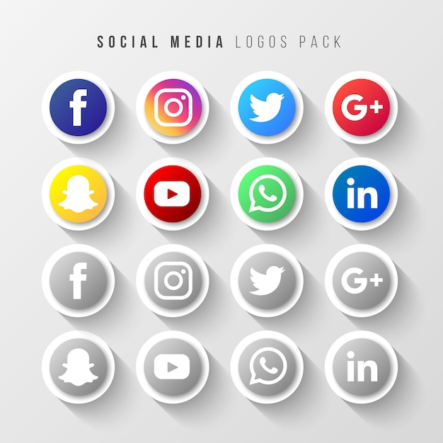 Social media logos pack Gratis Vector