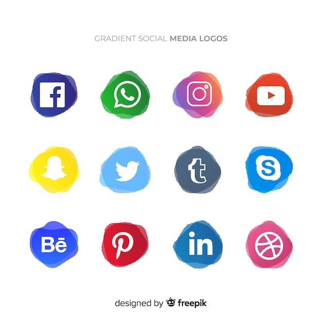 Social media logotype verzameling Gratis Vector