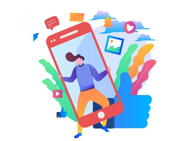 Social media management illustratie Premium Vector