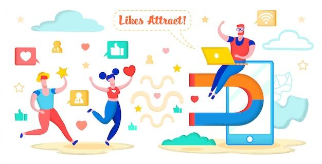 Social media marketing, aantrekken van harten, sterren. Premium Vector