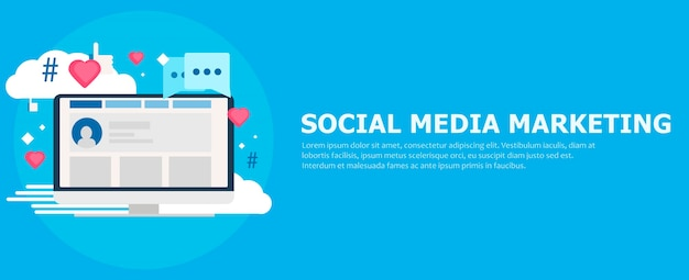 Social media marketing banner. computer met likes, cloud, commentaar, hashtags. Gratis Vector