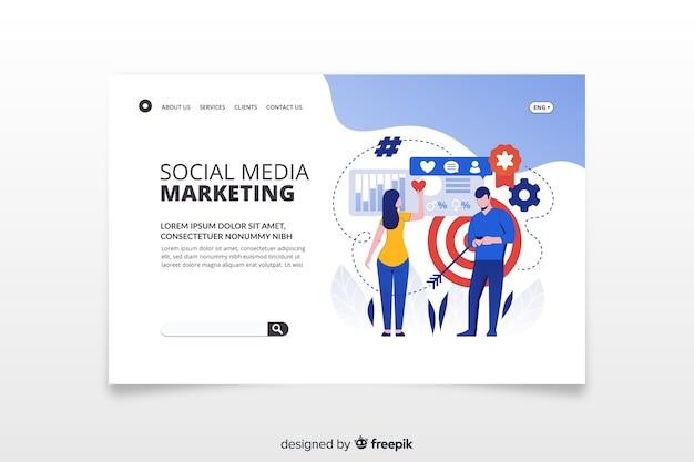 Social media marketing bestemmingspagina Gratis Vector