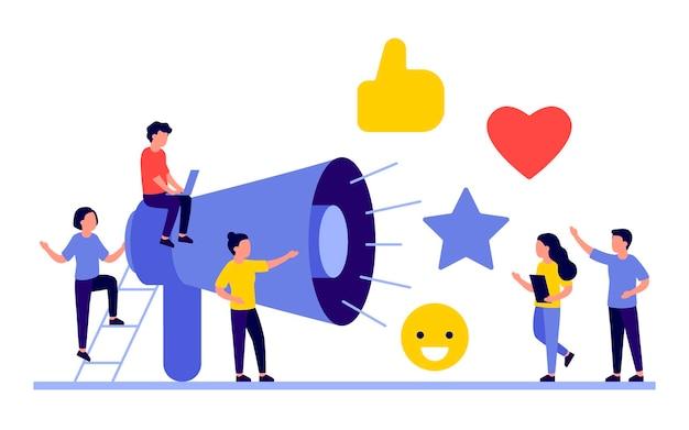 Social media marketing concept met mensen karakters Premium Vector