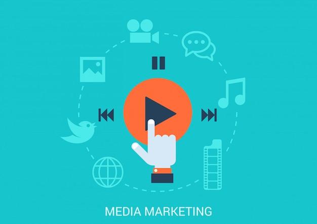 Social media marketing concept vlakke stijl illustratie. Premium Vector