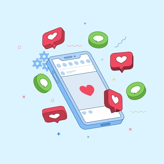 Social media marketing concept Gratis Vector