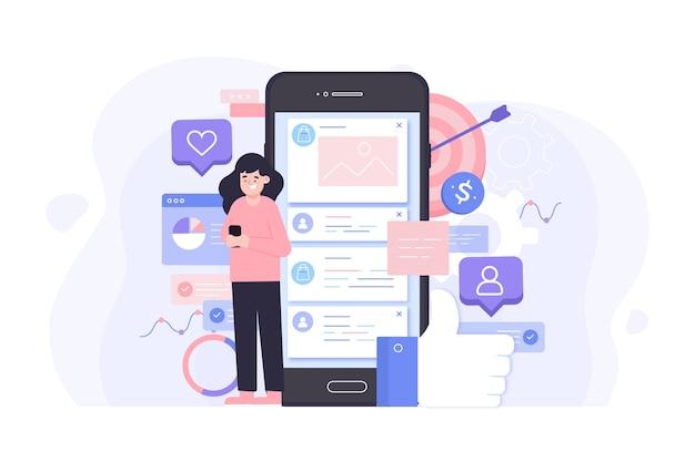Social media marketing conceptstijl Gratis Vector