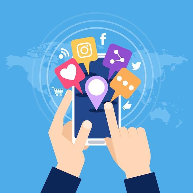 Social media marketing mobiele telefoon concept Gratis Vector